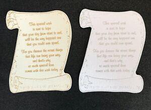 Scroll die cut foil versed scroll card topper (This Special Wish) pk5