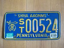 Pennsylvania Syria AAONMS  license plate very rare Shriners