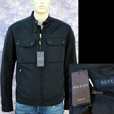 GUCCI New sz 44  US 34 XS Authentic Designer Mens Leather Trim Coat Jacket black