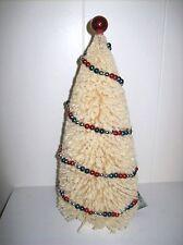 "Bethany Lowe 13.5"" Flocked Americana Bottle Brush Tree w/Patriotic Bead Garland"