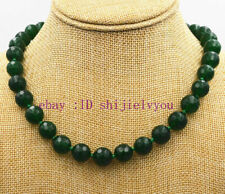 Fashion 12mm faceted green emerald beads necklace 18''AAA