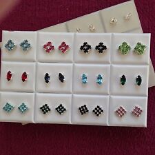 JOBLOT-12 pairs of 3 styles coloured rhinestone diamonte stud earrings.UK made.