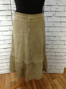 Boho Maxi Gypsy Western Vintage 90s Maxi Suede Skirt Tan Size Small