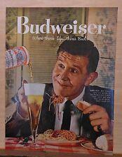 1958 magazine ad for Budweiser - Man enjoys big plate of spaghetti and a Bud