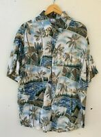 SOLUTIONS men's retro blue vintage viscose short sleeve ugly shirt size XXL