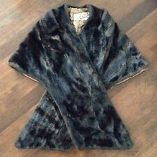 Cecile New York Vintage Brown Faux Mink Stole Short Jacket Wrap Cape Lined