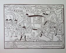 gravure sur bois woodcut Arrestation du Roi et de sa famille à Varennes en 1791