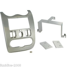 DACIA Duster de 2010 a 2012 Brillante Gris Doble DIN Kit de montaje de panel Fascia Adaptador