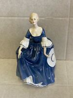 "***Royal Doulton Figure ""Hilary"" HN2335 Lady in Blue Dress Holding Her Hat***"