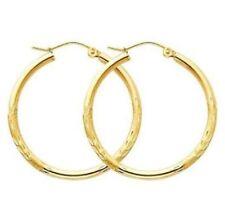 "1"" 2mm X 15mm Diamond Cut Hoop Earrings REAL 10K Yellow Gold"