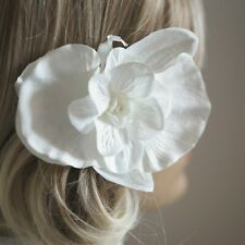 White Silk Large Orchid Flower Pearled Centre Bridal Hair Accessory With Clip