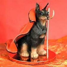 Doberman Cropped Ears Black Dog Devil Tiny Figurine Statue