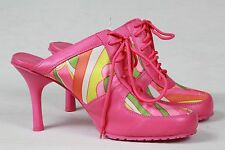 ANNE MITCHELL HIPPEE FABRIC 60'S MOD NEW SEXY SHOES ATHLETIC BALLER HIGH HEEL 9