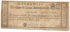 1864 Mechanics Savings & Loan 2 Dol Rev Savannah Ga Rev Printed on Other Notes
