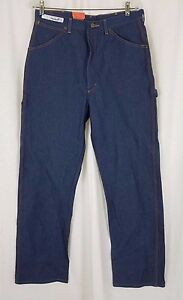 Men's Red Kap Carpenter Jeans Deadstock Blue DENIM Mens 34x33 Orange Stitching