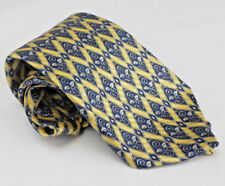 Countess Mara Mens Neck Tie Blue Gold Diamond Geometric 56 x4