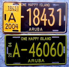 TWO ARUBA License Plates Tags: Both Types of 2004 - Low Shipping