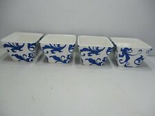 4 Ciroa Fiori Square Bowls Ramekins Dip Appetizer Dessert Blue & White