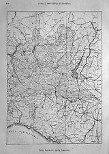 1891:MILANO=CARTA GEOGRAFICA DELLA LOMBARDIA=Xilo.mm 180 x 250c.ETNA.P.Premoli