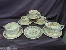 Antique ART DECO AMERICAN LIMOGES FORTUNE COFFEE CUPS SAUCERS CREAMER SUGAR BOWL