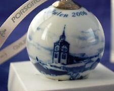 PORSGRUND Dated 2006 Ceramic Christmas Ornament Ball Bulb JUL PA ROROS (NORWAY)