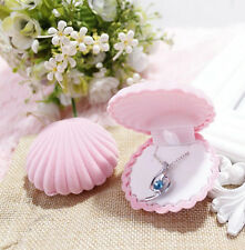 Pink Shell Shape Lovely Earrings Ring Velvet Display Boxes Jewelry Necklace Case