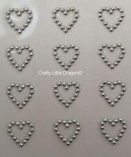 24 x 13mm Outline Hearts METALLIC SILVER Stick on Self Adhesive GEMS WEDDING