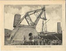 Stampa antica LA SPEZIA arsenale grande gru idraulica 1890 Old antique print