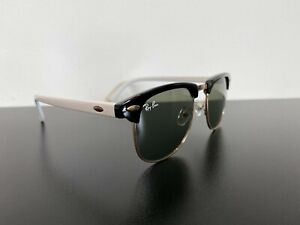 Vintage Ray-Ban 3016 50-18-136 Classic Sunglasses Black & White on Rose Gold