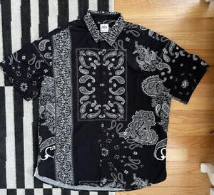 Zara Mens Bandana Button Down Shirt M Oversized