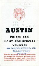 Austin Light Commercials A30 A40 Taxi 152 A135 1-Ton 7/56 UK prices & options