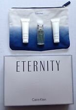 CALVIN KLEIN ETERNITY POUCH GIFT SET, .5 OZ PERFUME, BODY CREAM, SHOWER GEL 1 OZ
