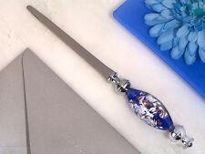 1 Murano Dark Blue Wedding Favor Letter Opener Sword Handheld Stunning Gift Box
