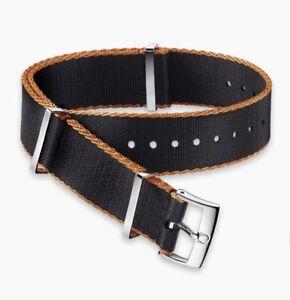 Original Omega 22mm Polyamide black strap, orange-bordered 031ZSZ002054