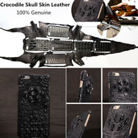Genuine Crocodile Skull Skin Leather Case Cover For iPhone 10 XR 8 7 6 5 S Plus