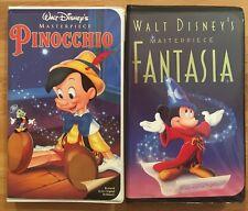 Pinocchio & Fantasia (VHS) Walt Disney Home Video, Jimmy Cricket, Mickey Mouse