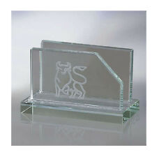 Engraved GLASS BUSINESS CARD HOLDER for desk office