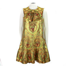 Gucci 2017 Bow Dress - $3400 Metallic Gold Floral Flora - IT 42 - US 6