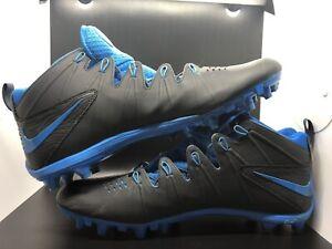 Size 14 Nike Huarache 4 Lacrosse Football Cleats Black/Blue No Laces