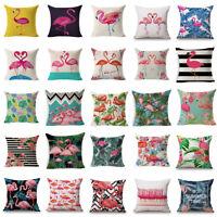 Flamingo Cotton Linen Pillow Case Throw Cushion Cover Valentine's Day Home Decor