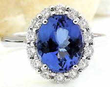 4.83 Carat Natural Tanzanite 14K Solid White Gold Luxury Diamond Ring