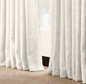 RH Belgian Linen Textural Basketweave Drapery Panel 100x108 NATURAL NEW