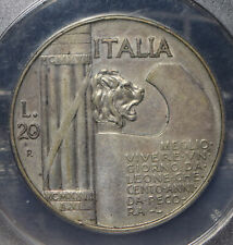 Italy 1928 20 Lire Lion animal NGC AU50 NG0930 combine shipping