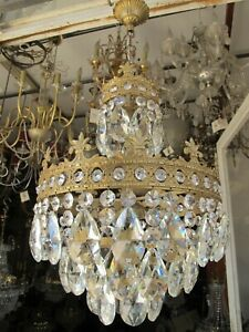 Antique French Basket Style Crystal Chandelier Lamp Light Lustre1940's 12in Ø Dm