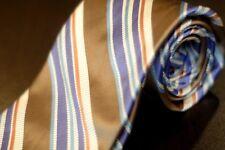 Ike Behar Men's Tie Gold & Purple Stripe Satin Woven Silk Necktie