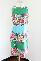 Talbots Blue Green Color Block Spring Floral Sheath Dress Size 8 Sleeveless