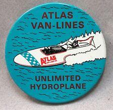 "1969 ATLAS VAN LINES 3"" tin litho pinback button hydroplane boat racing"