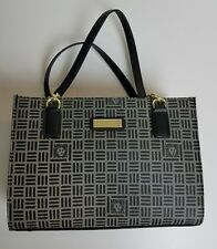 NWT Anne Klein Womens Black Purse Signature Logo Footed Bottom Gold Tone Accent