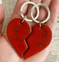 Pair of Heart Keyrings for Couple, Leather Wedding Gift for Mr & Mrs Christmas