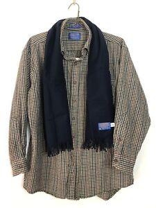Pendleton Woolen Shirt Mens Large 100% Virgin Wool AND Pendleton Navy Blue Scarf